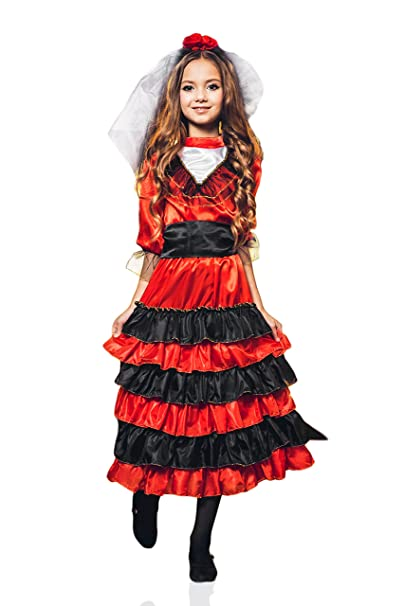 La Mascarade Kids Girls Spanish Dancer Halloween Costume Gypsy Carmen Dress Up & Role Play (6-8 years, red, black)