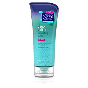 Clean & Clear Oil-Free Deep Action Exfoliating Facial Scrub, Cooling Face Wash for Deep Pore Cleansing, 7 oz