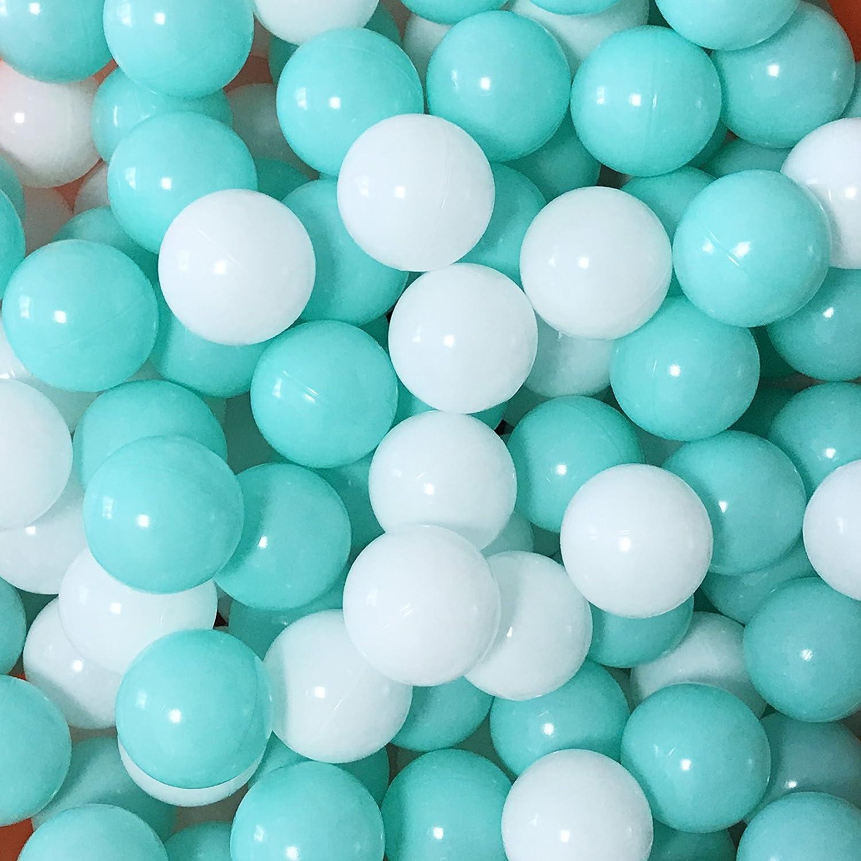 MoonxHome Pit Balls Crush Proof Plastic Childrens Toy Balls Macaron Ocean Balls 2 15 Inch Pack of 100 Green/&Pink