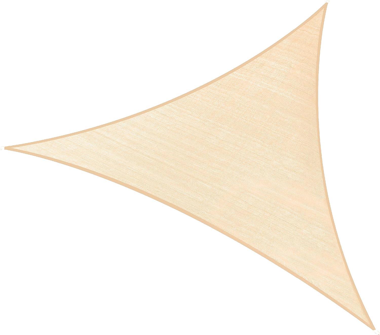 PHI VILLA Sun Shade Sail Triangle 16.5'x16.5'x16.5' Wheat Patio Canopy Cover - UV Bloack - for Patio, Garden, Yard, Pergola