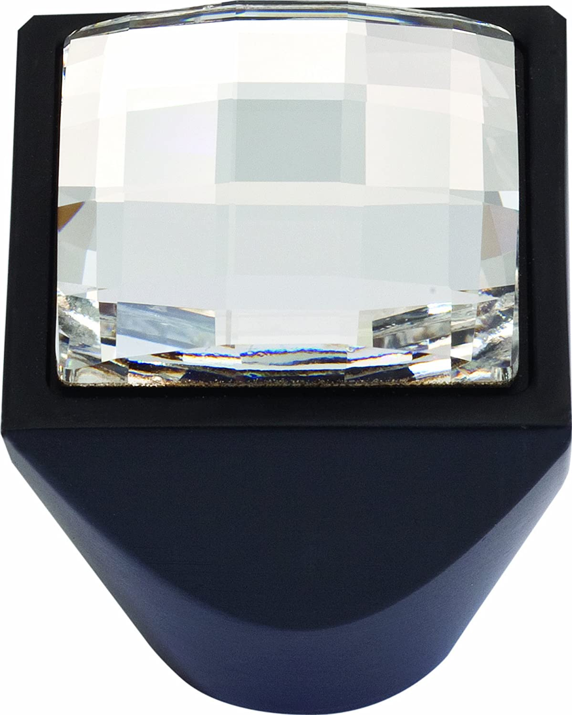 Atlas Homewares 3196-BL Boutique Crystal 1-Inch Square Large Knob Matte Black