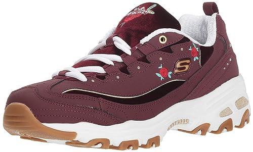 Skechers Women's D'Lites Rose Blooms Sneaker, Burgundy, 6.5 M US