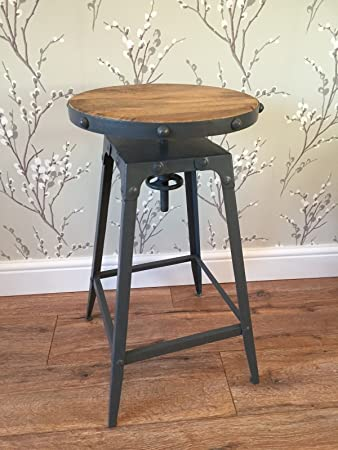 Charmant ELM Vintage Rustic Metal Kitchen Bar Stool Wooden Seat