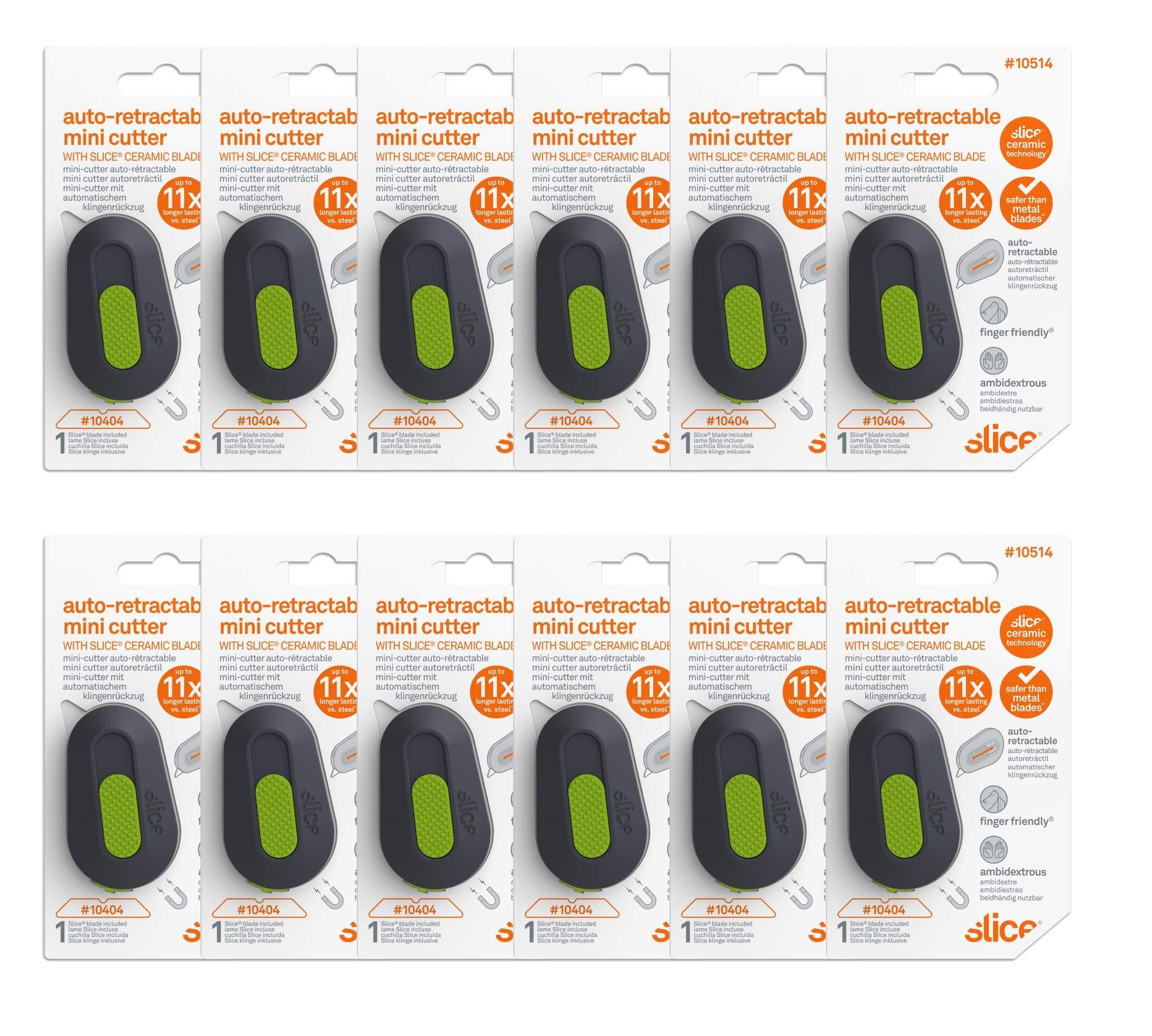 Slice 10514-CS Mini Cutter Auto-Retractable, Cuts Vinyl, Cardboard, Foam, Plastic Packaging Opener, Pack of 12 by Slice