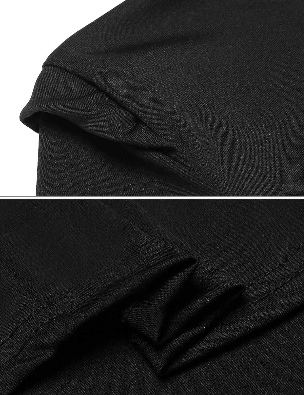 Meaneor Women Casual Short Sleeve Mock Neck Knit Tunic Dress