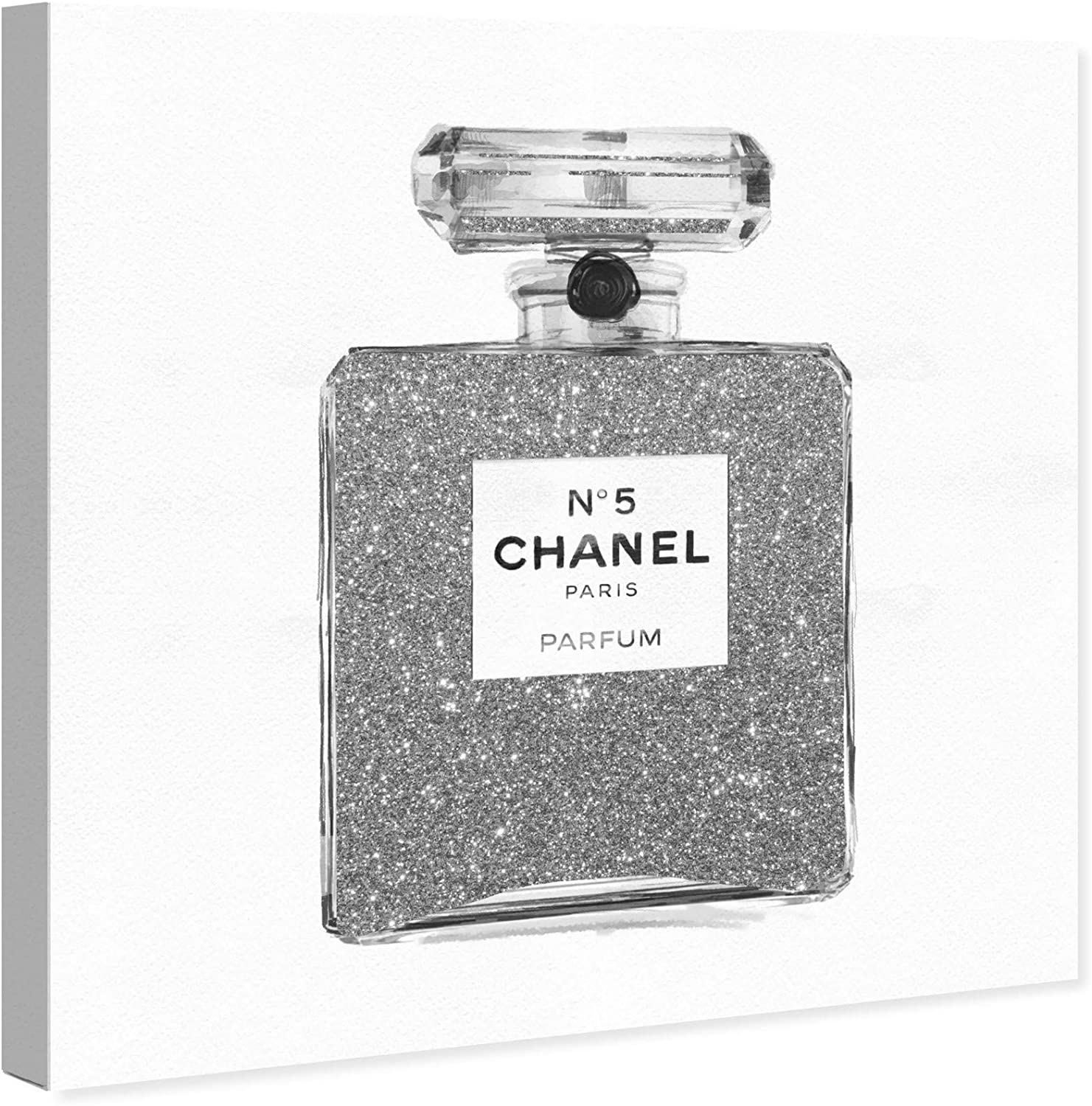 Amazon Com The Oliver Gal Artist Co Fashion And Glam Wall Art Canvas Prints Silver Classic Number 5 Perfumes Home Décor 30 X 30 Gray White Home Kitchen