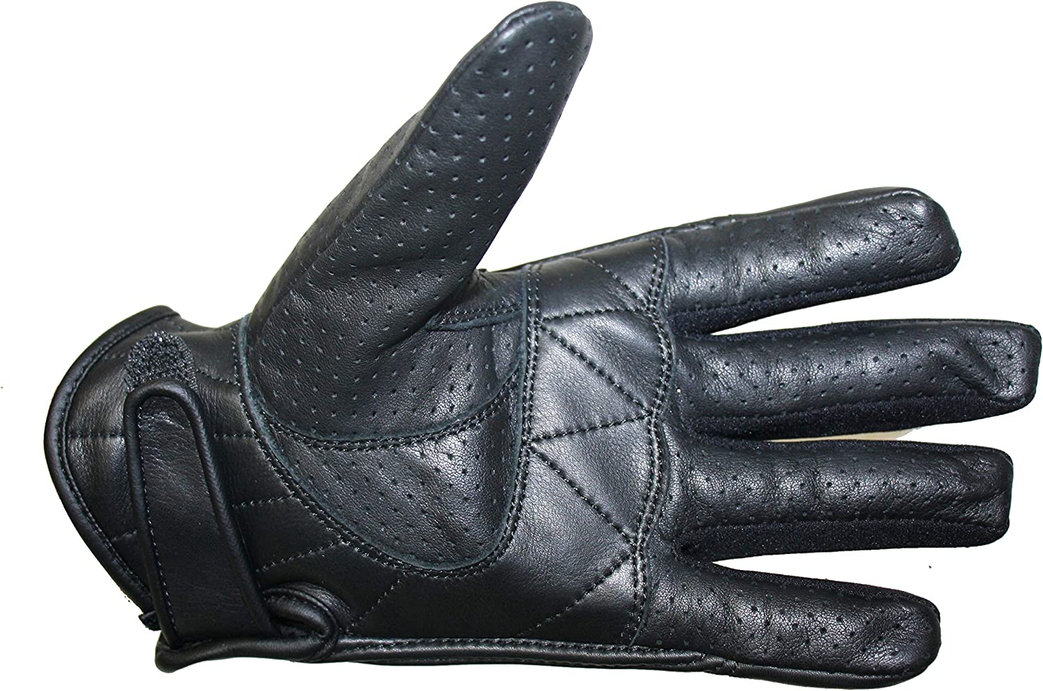 Black Bikers Gear Australia Short Soft Leather Summer Perforated Motorcycle Gloves Size XS