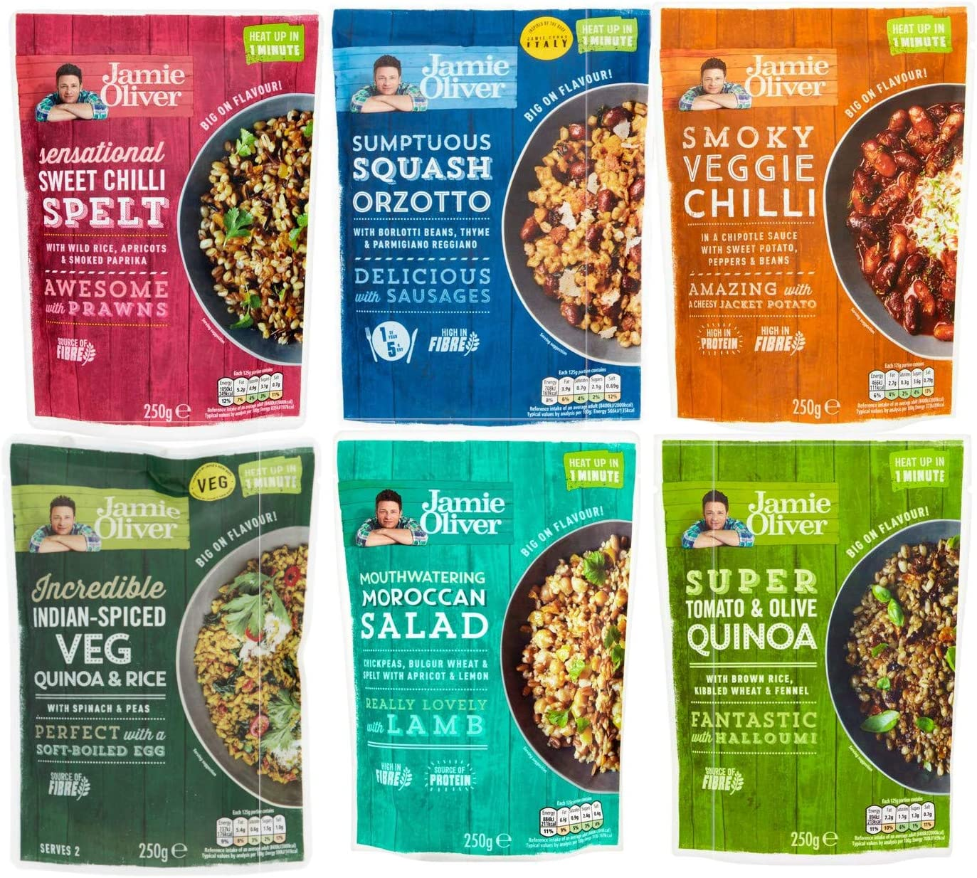 Jamie Oliver Ready To Eat Variety Pack 250g Each Squash Orzotto Sweet Chilli Spelt Tomato Olive Quinoa Indian Veggie Smoky Veggie Chilli Moroccan Salad Amazon Co Uk Grocery