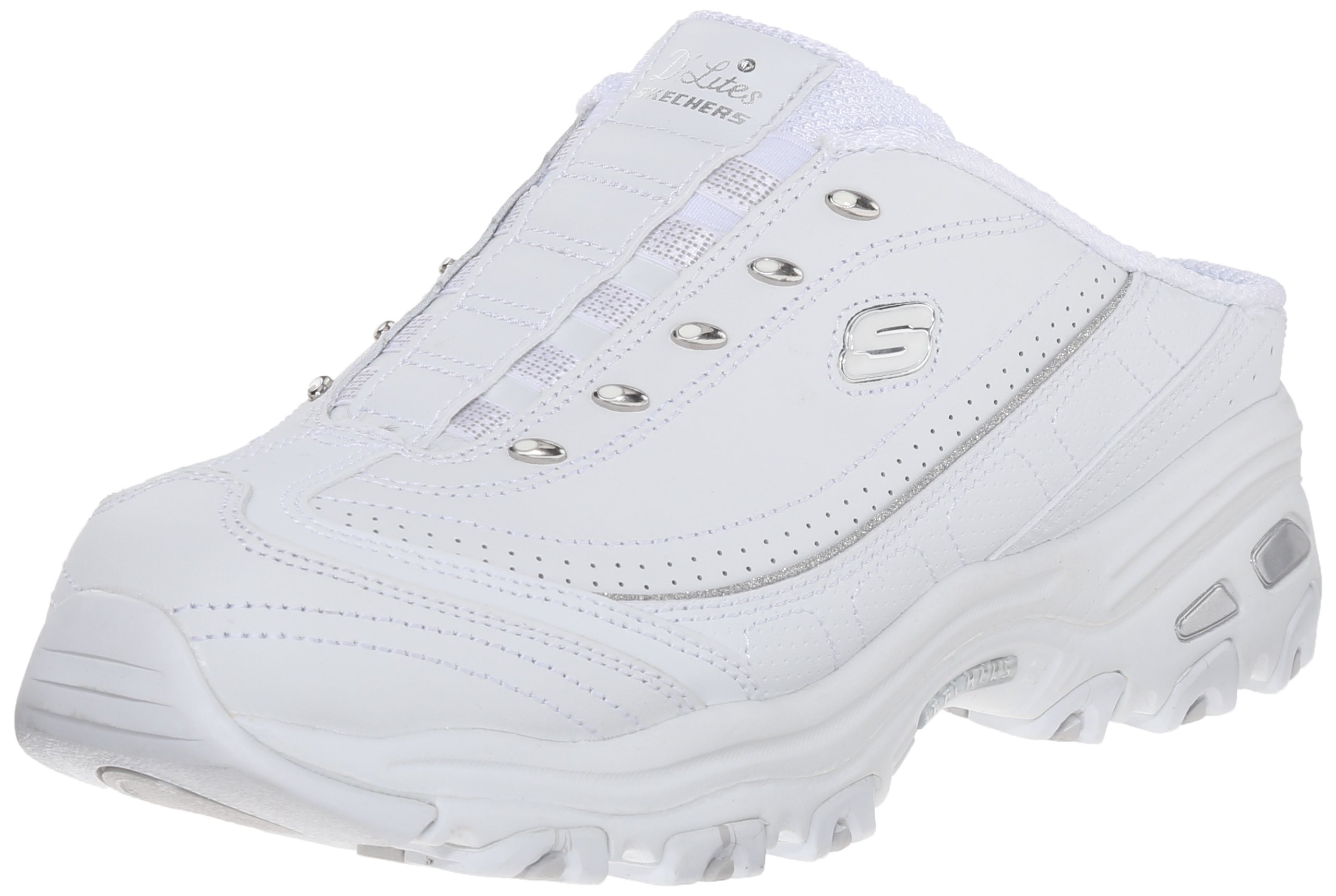 Skechers Sport Women's Bright Sky Fashion Sneaker, White/Silver, 11 M US