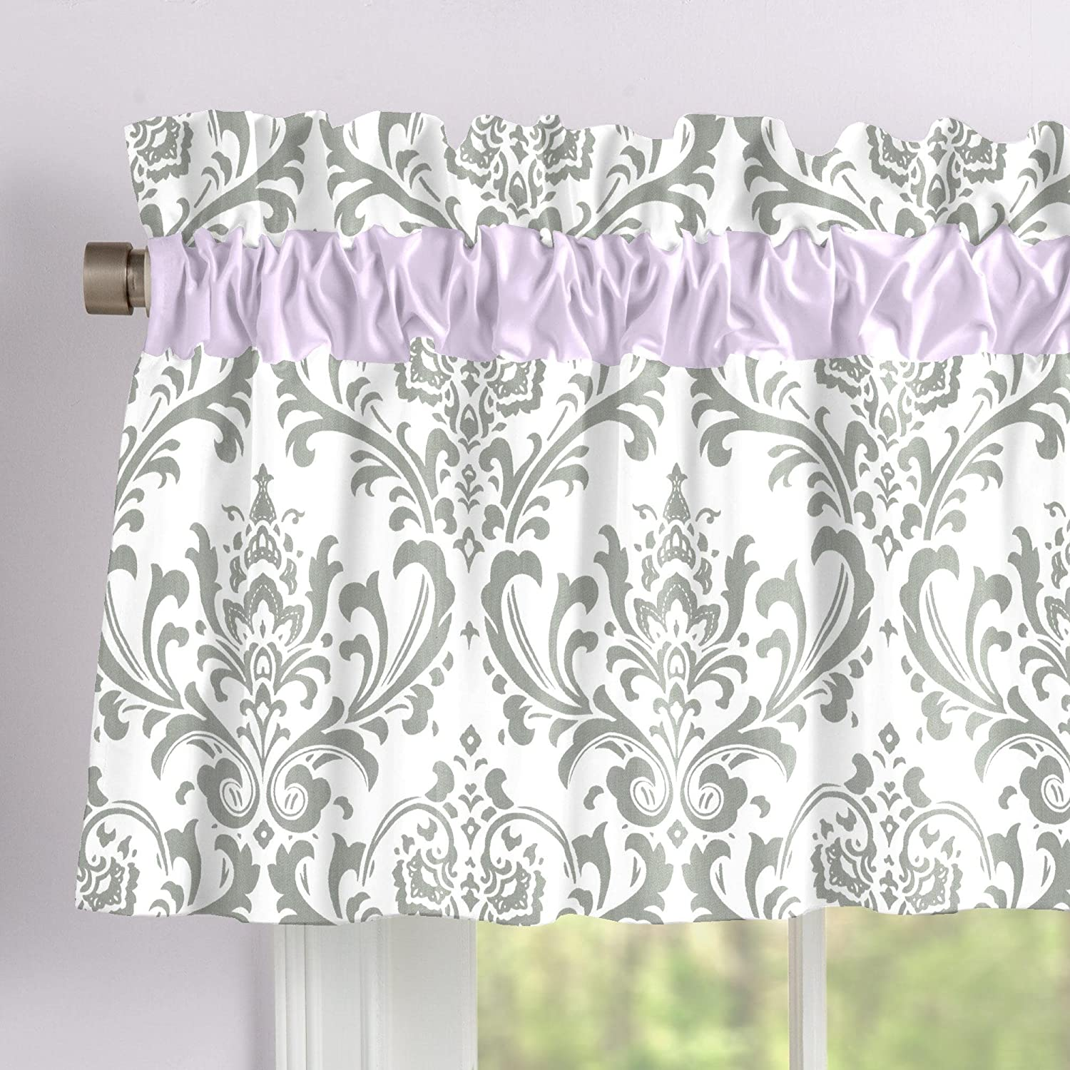 Carousel Designs Lilac and Gray Traditions Damask Window Valance Rod Pocket
