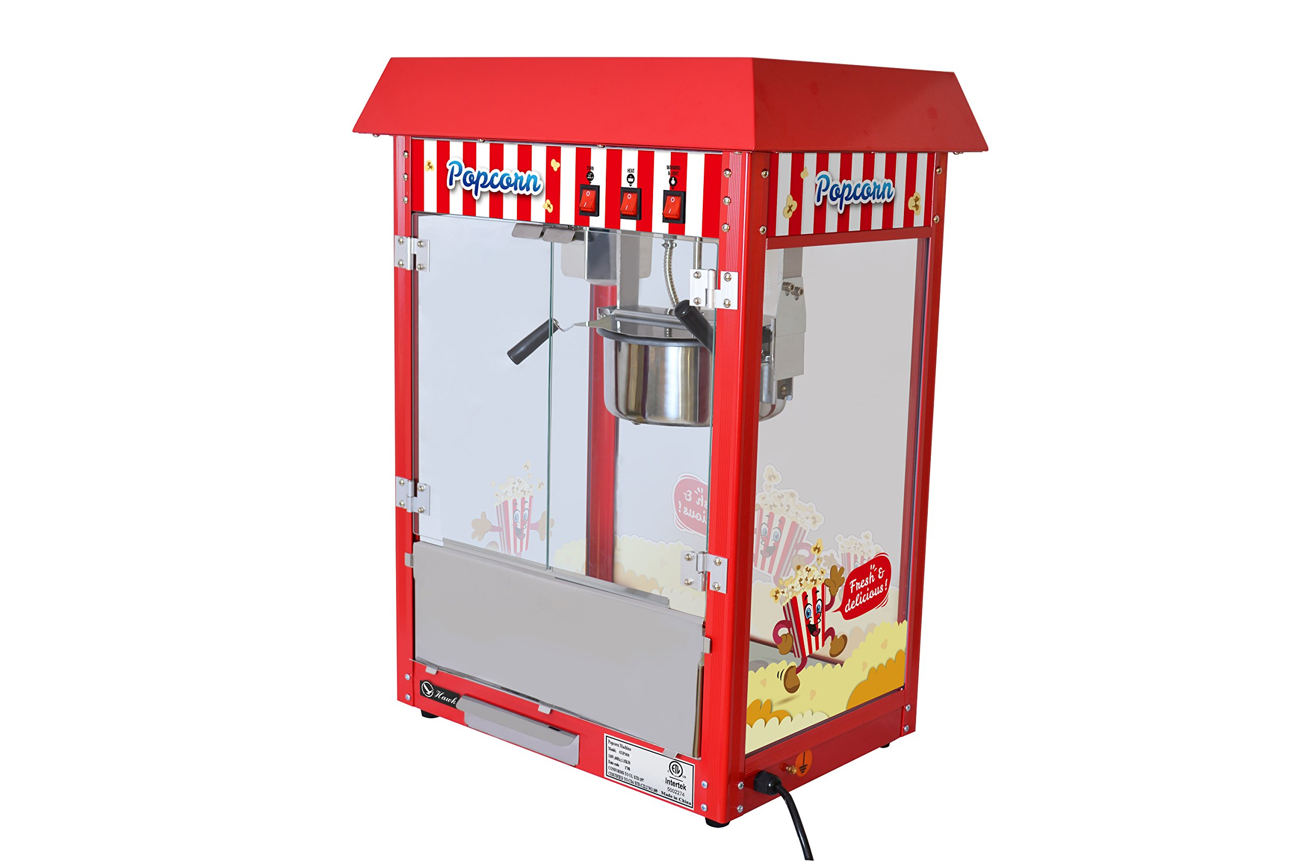 Movie Theater Style 8 oz. Ounce Popcorn Machine. Quick popcorn within 3 min (Red Top)