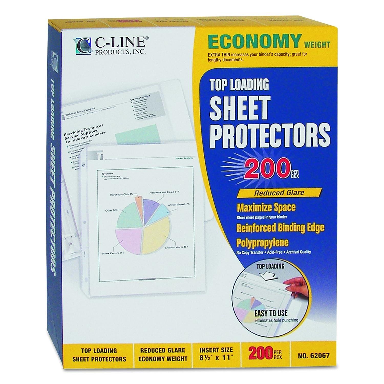 C-Line superior carga superior C-Line protectores de economía peso poliéster hoja, reducción de reflejos, 8,5 x 11 pulgadas 310635