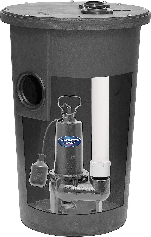 Superior Pump 93015-U U Cast Iron Tethered Float Switch Sewage Pump with Basin Kit, 1/2 HP, Black