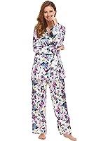 79344d4e96cc0e Ekouaer Damen V Ausschnitt Satinpyjama Klassische Schlafanzug Nachtwäsche  Sleepwear mit Knopfleiste und Reverskragen Drei Farben
