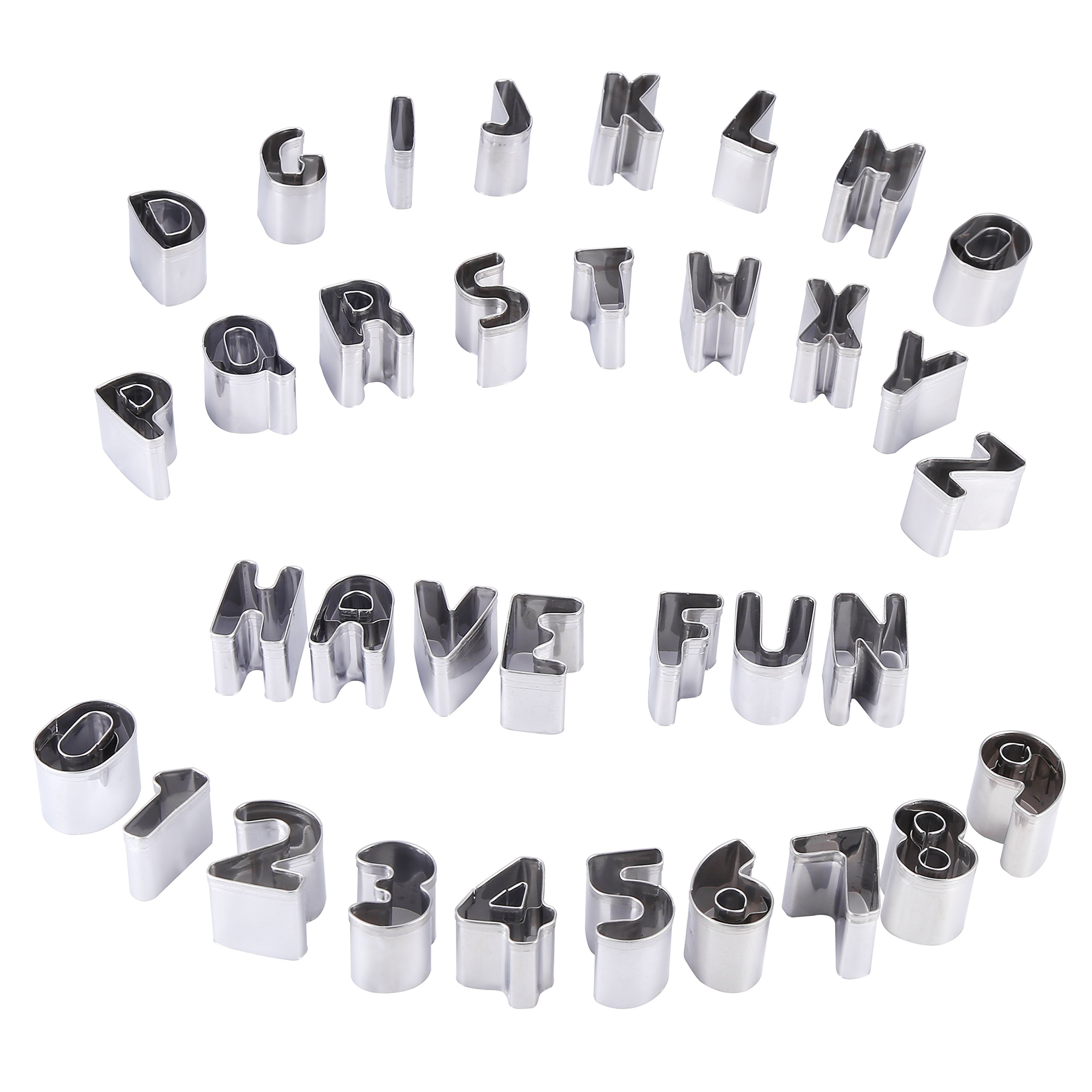 Mini Biscuit Cutters Set Alphabet and Numbers Metal Mini A-Z Capital Letters and 0-9 Set of 36pcs Tools for Cookie Fruit vegetables Stainless Steel Mold