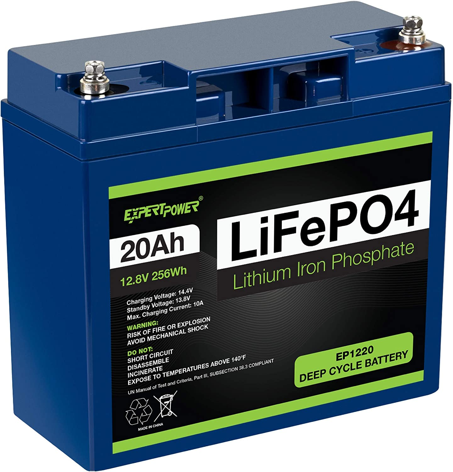 12V 5A Charger ExpertPower Lithium LifePO4 Battery /& Charger Bundle 12V 20Ah Battery