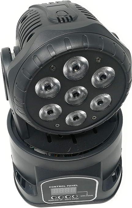 Proyector LED RGB, cabeza giratoria móvil, efectos de disco, 7 LED ...