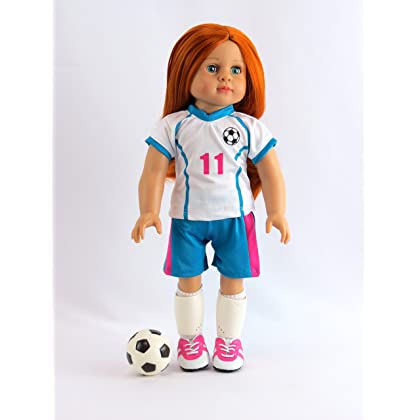 355a40b0a ... Pink & Teal Soccer Player Outfit with Uniform, Shin Guards, Socks, Soccer  Ball ...
