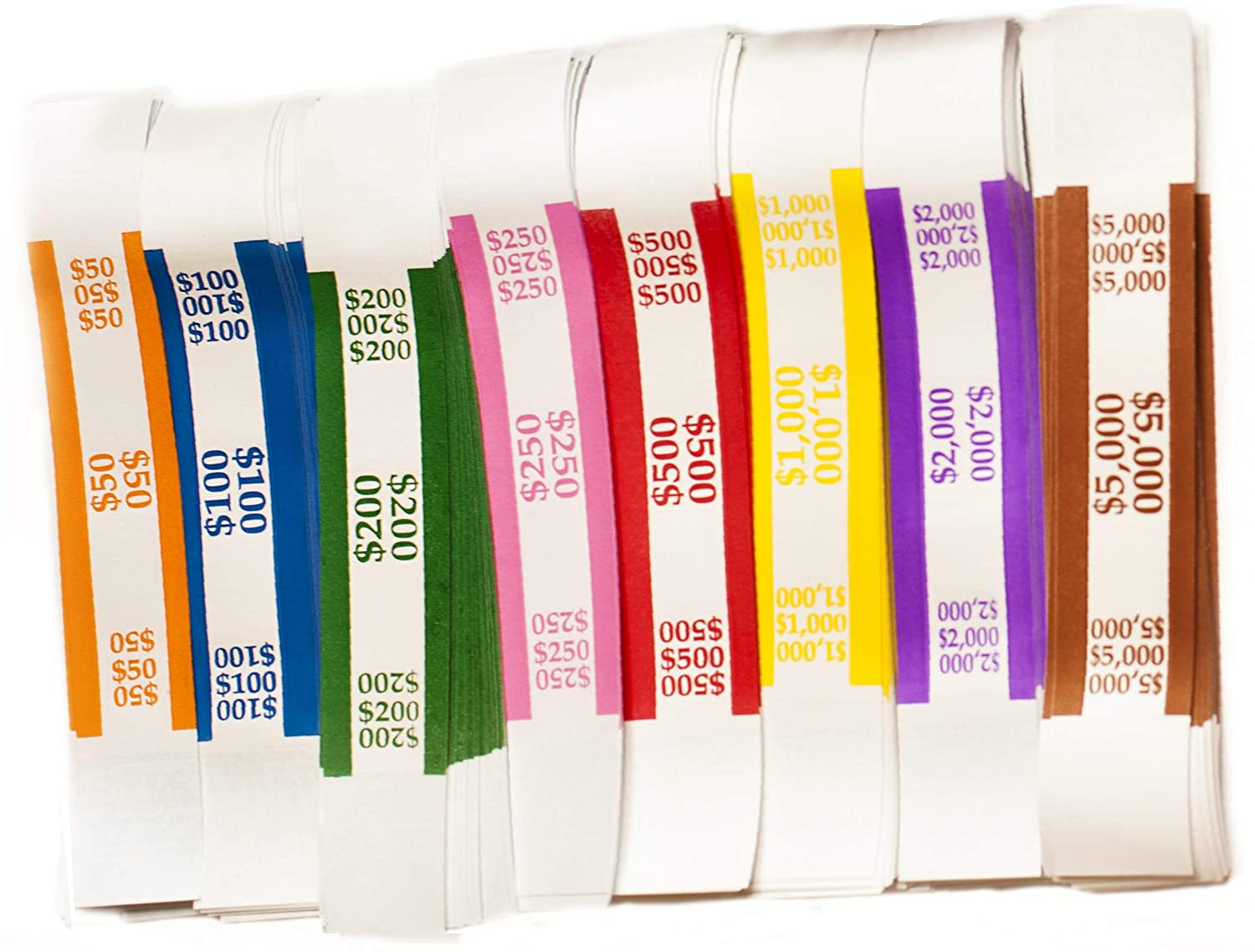 100  SELF SEALING PURPLE $2000 CURRENCY STRAPS MONEY BILL BANDS PMC BRAND BAND