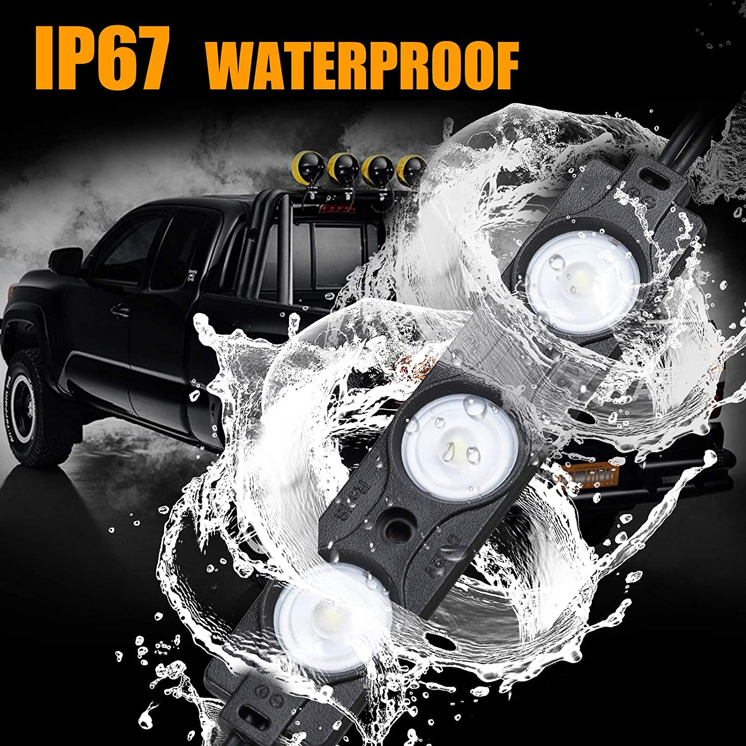 8PCS Kit di Illuminazione a LED per Camion Letto 24 Kit di Illuminazione a Roccia Impermeabile a 24 LED per Camion Pickup off Road sotto i Piedi del Veicolo Car Rail Van Trailer Cargo White Light