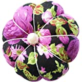 CUSHYSTORE Purple on Black Floral Flower Wrist Pin Needle Cushion Pincushion for Sewing with Adjustable Elastic Strap…