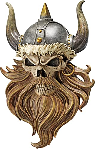 Design Toscano Skull of Valhalla Viking Warrior Wall Sculpture Plaque