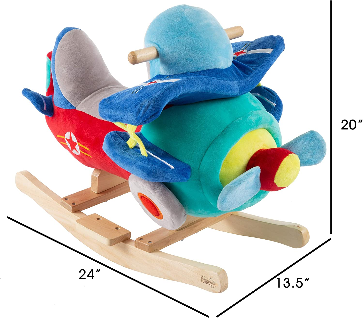 Happy Trails 80-690PLN Rocking Plane Toy- Kids Plush Stuffed Ride On Wooden Rockers with Sounds Handles-Make Believe Play- Fun for Boys, Girls, Toddlers, Brown a