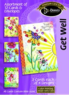 Amazon divinity boutique greeting card assortment get well divinity boutique greeting card assortment get well flower and heart fantasy with scripture m4hsunfo Gallery