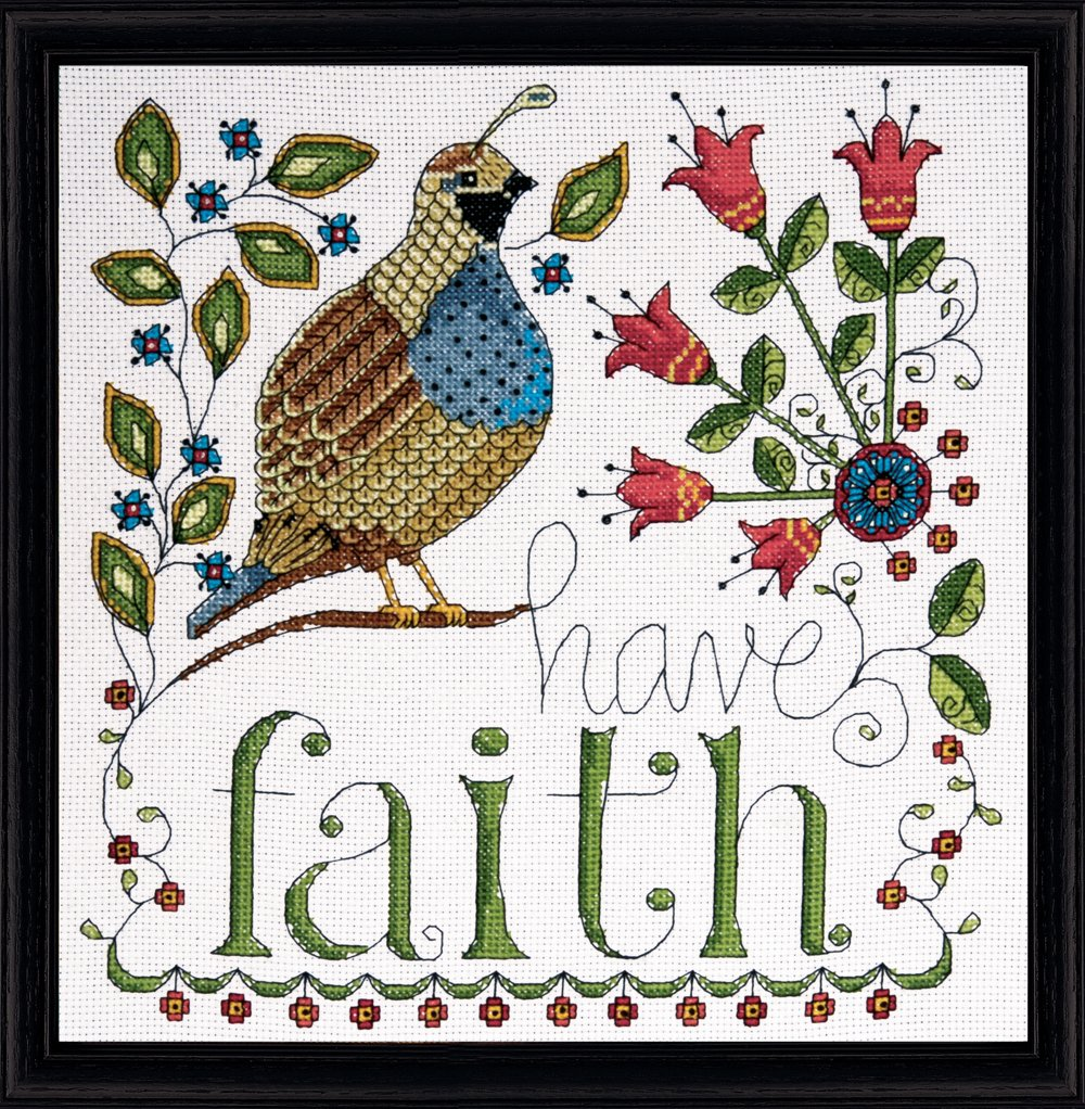 Tobin DW2791 14 Count Heartfelt Have Faith Counted Cross Stitch Kit 10 by 10-Inch