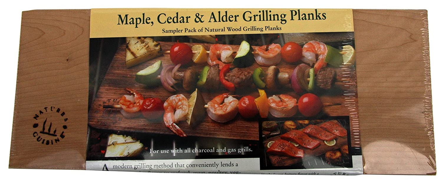 Nature's Cuisine NC009 14-Inch x 5.5-Inch Sampler Grilling, Pack 1 of Cedar, Alder, Maple (Wood) Natures Cuisine