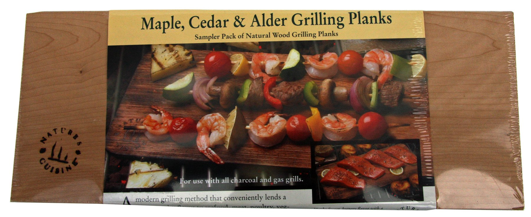 Nature's Cuisine NC009 14 by 5-1/2-Inch Cedar/Alder/Maple Combo Outdoor Grilling Plank, 1 Each