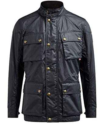 6231d2fea2fc Belstaff Men s Waxed Cotton Fieldmaster Jacket Navy at Amazon Men s Clothing  store