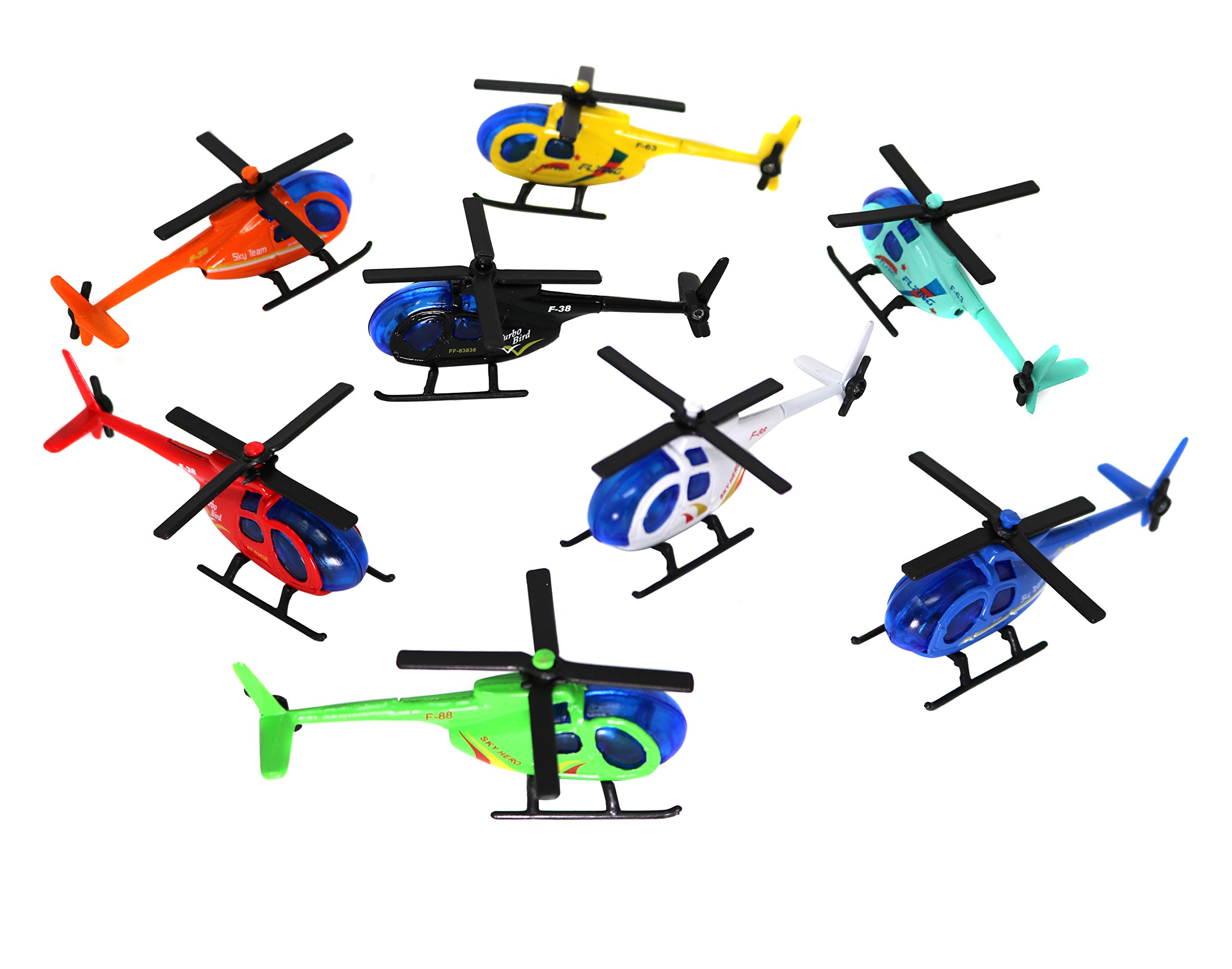 Smart Novelty Die Cast Metal Helicopters In Assorted Colors - Set Of 6 Helicopters