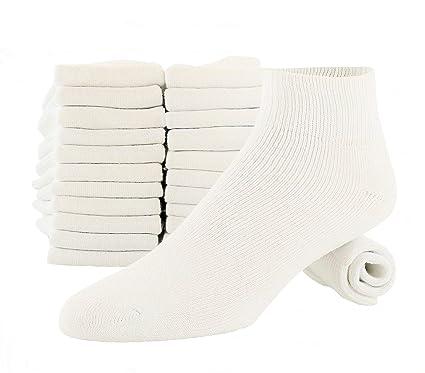 d696b0eb1 Amazon.com  12 Pairs White Ankle Quarter Socks Soft Cotton Cushioned Sole  Unisex Fits Men And Women  Clothing