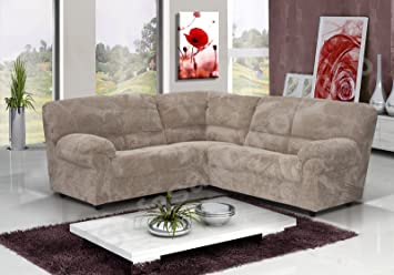 new style 6ff56 e2f05 Fabric Corner Sofa Chenille Brown Scatter Designer Cushions 3 Seat Chaise  Lounge Couch Foam Filling Comfortable Settee