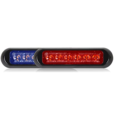 Maxxima M20389BRCL-DC thin low profile dual color blue/red clear lens LED warning light: Automotive