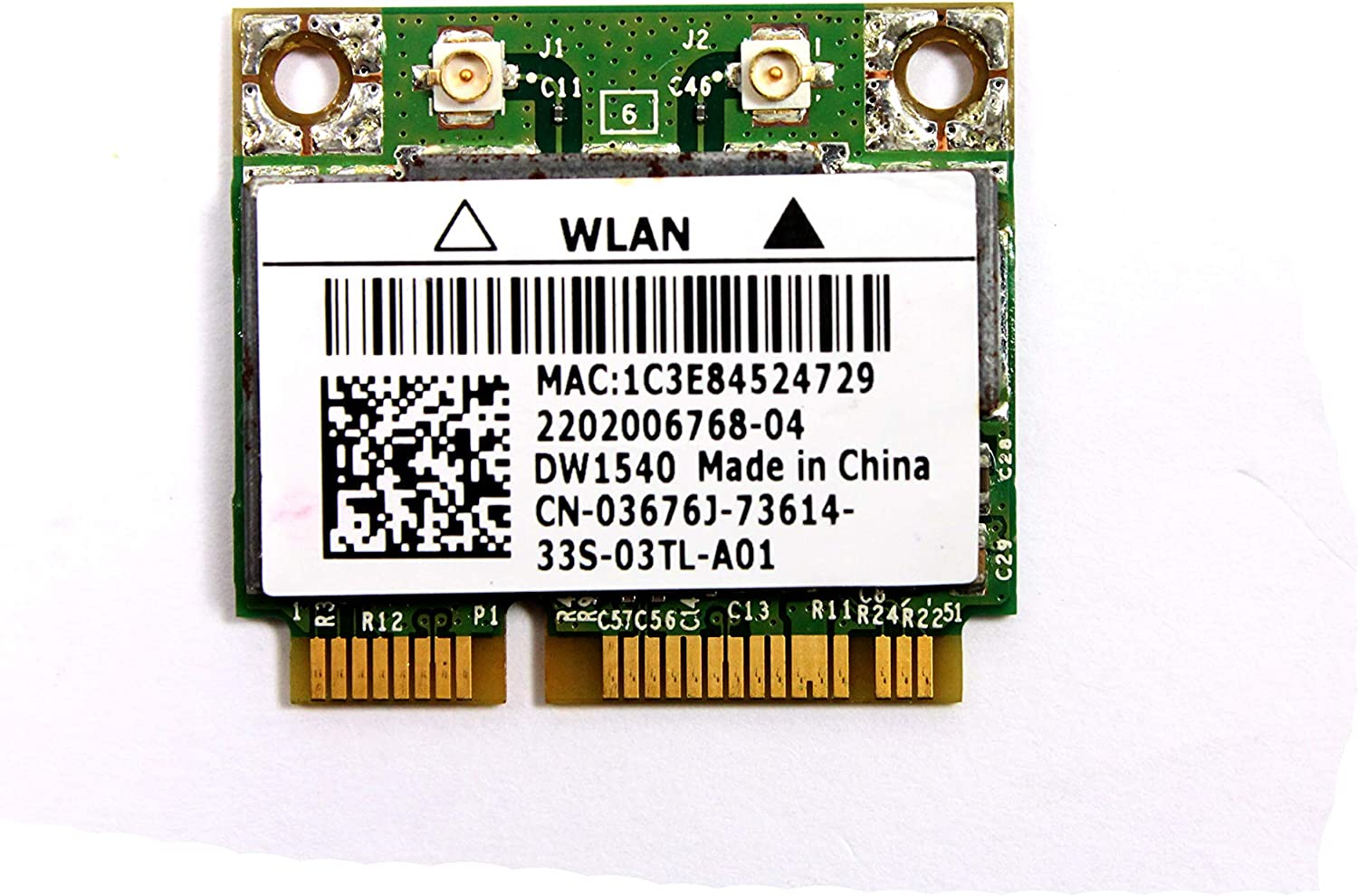 3676J - Dell Wireless 1540 DW1540 WiFi 802.11 a/b/g/n Half-Height Mini-PCI Express Card - 3676J