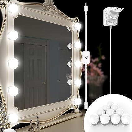 Specchi Con Luci Per Trucco.Samoleus Kit Luci Da Specchio Trucco Stile Hollywood Specchio Vanity Illuminato Per Trucco Cosmetico 10 Led Lampadine Dimmerabili Con Dimmer