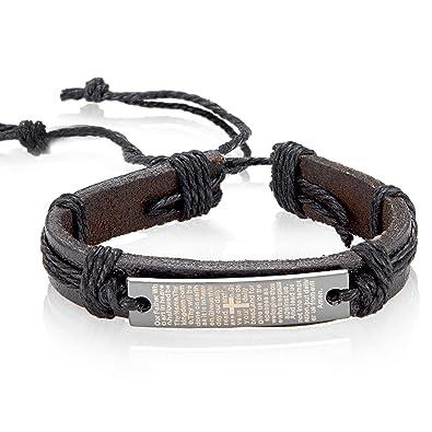 Amazon Com Na 8 5 Inch Black Mens Leather Cross Bracelet Embossed