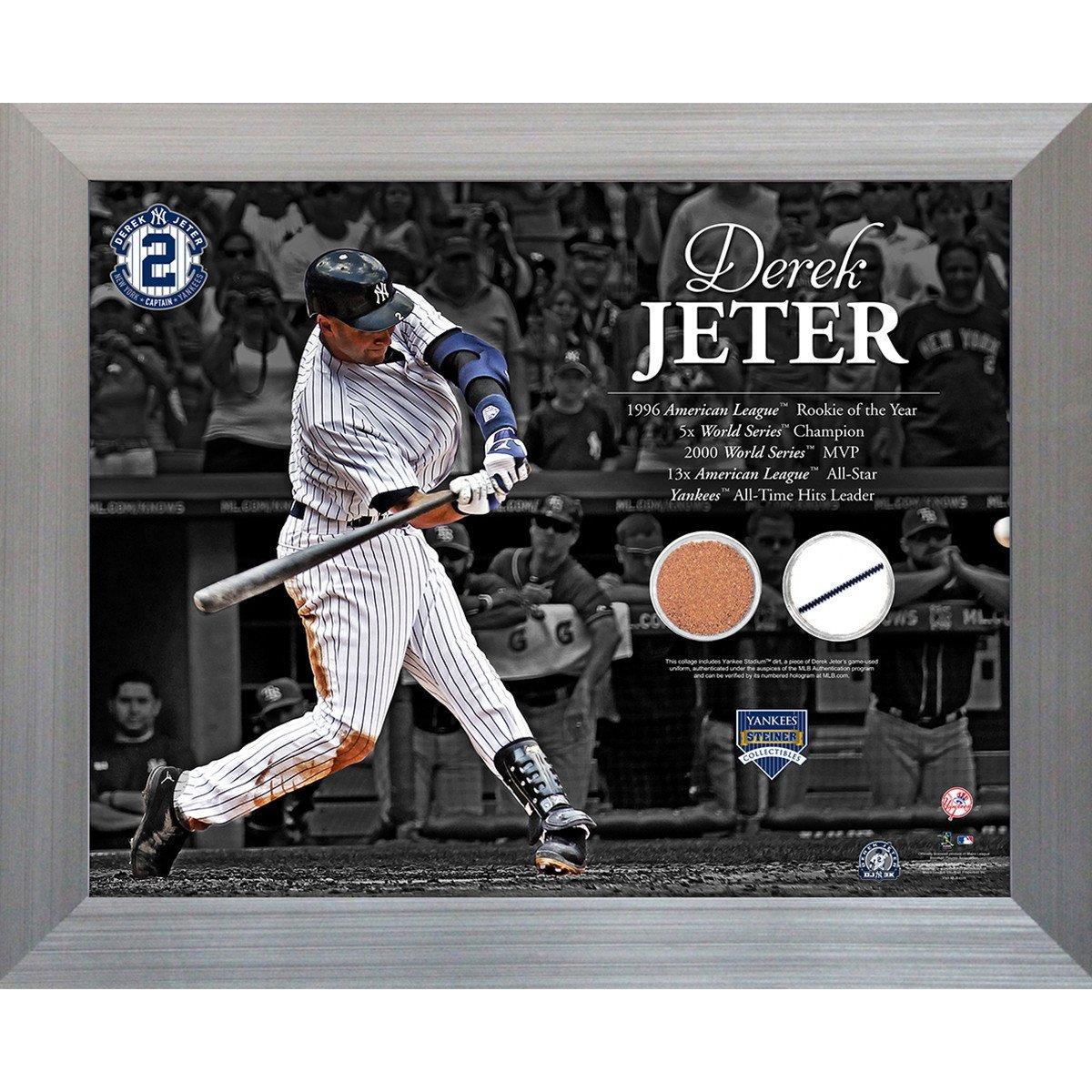 Derek Jeter Hitting with Timeline 11x14 Uniform & Dirt Collage Steiner Sports