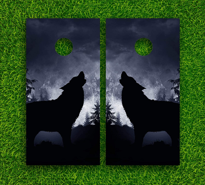 Wolfs Life Cornhole Boards Wraps Set