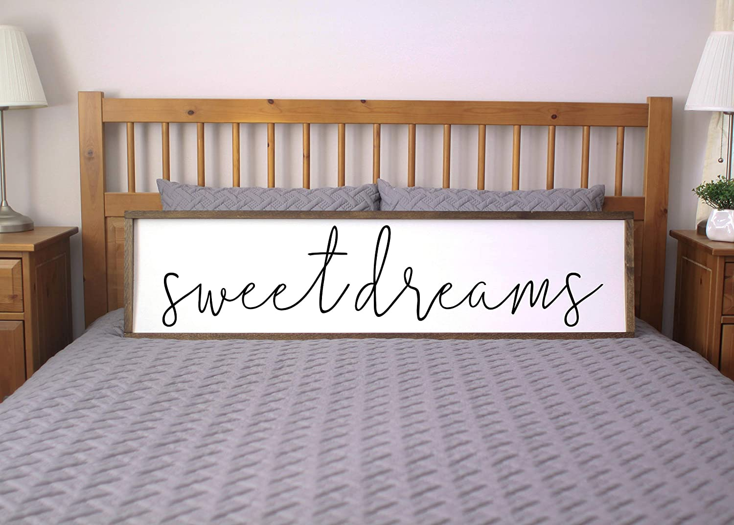 bawansign Sweet Dreams Sign for Bedroom Farmhouse Framed Sign Farmhouse Bedroom Rustic Chic Wall Decor Sign for Above Bed
