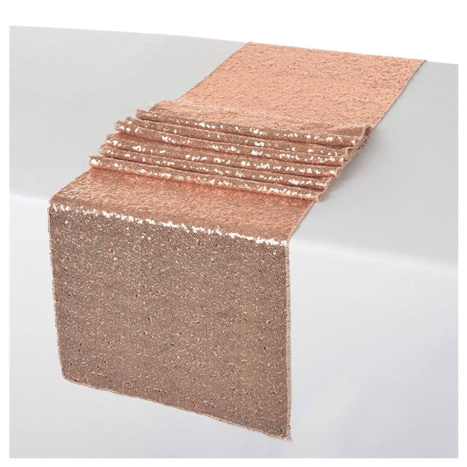 ShinyBeauty 12x108-Inch Sequin Table Runner Rose Gold-20 Pieces