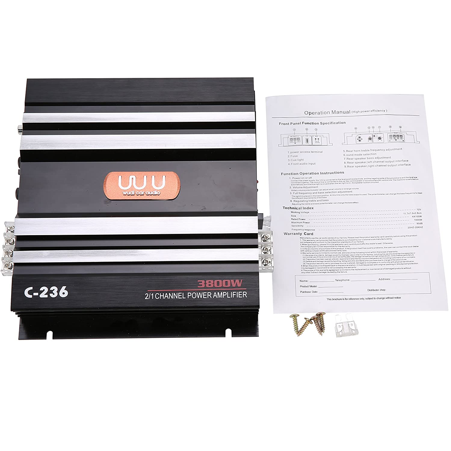 YaeCCC C-236 12V 2 Channel Powerful Car Audio Amplifier Bass AMP Aluminum Yae First Trading Co Itd