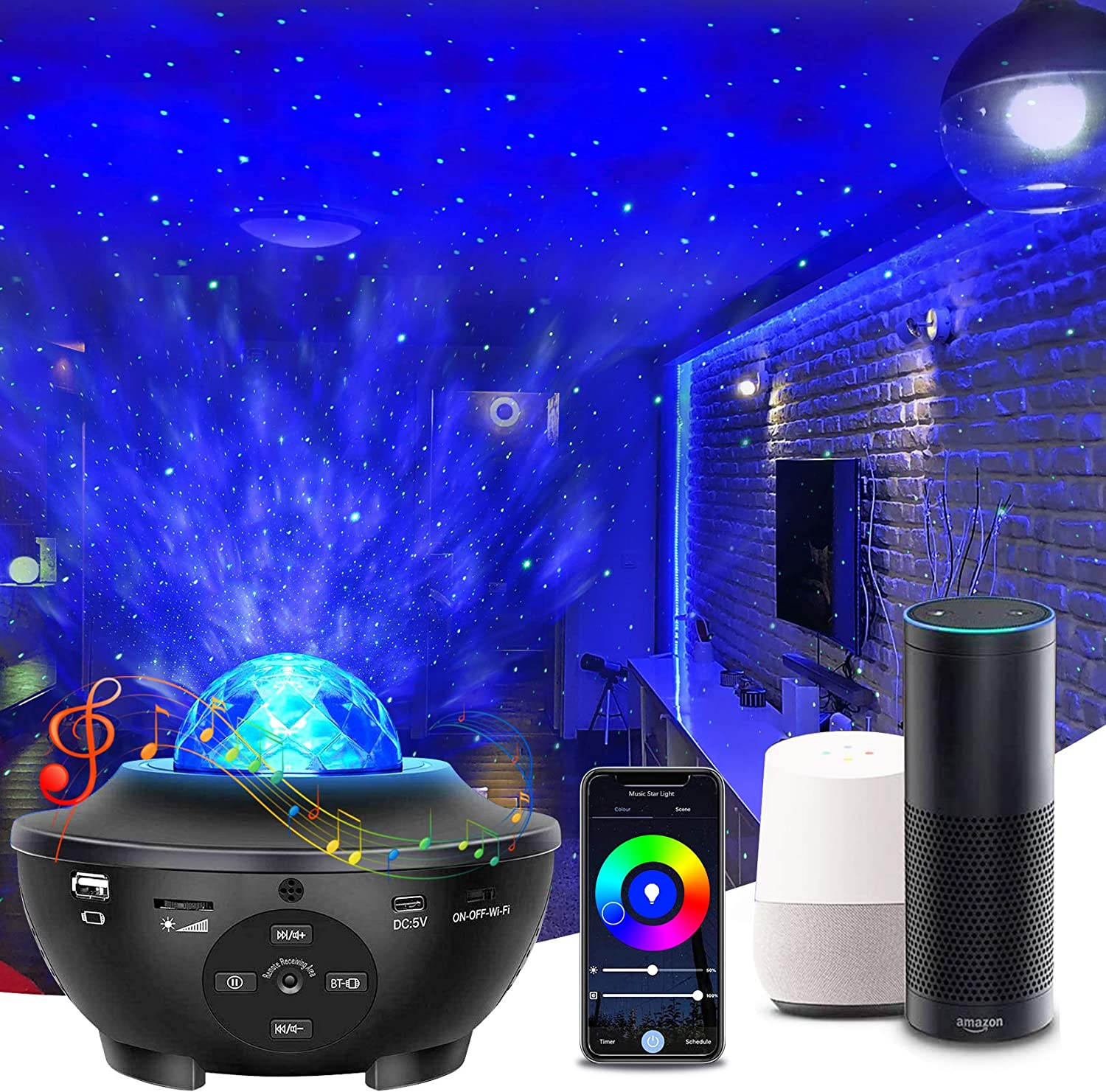 Star Projector Galaxy Projector, Elec3 Smart Galaxy Light Works with Alexa, Google Assistant Music Speaker Remote Control Night Light Projector for Kids Adults Bedroom Game Room Home Theatre Decor
