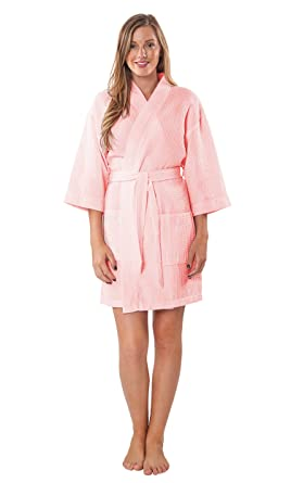1265940670 Turquaz Linen Personalized Embroidered Lightweight Knee Length Waffle  Kimono Bridesmaids Spa Robe Blush Pink