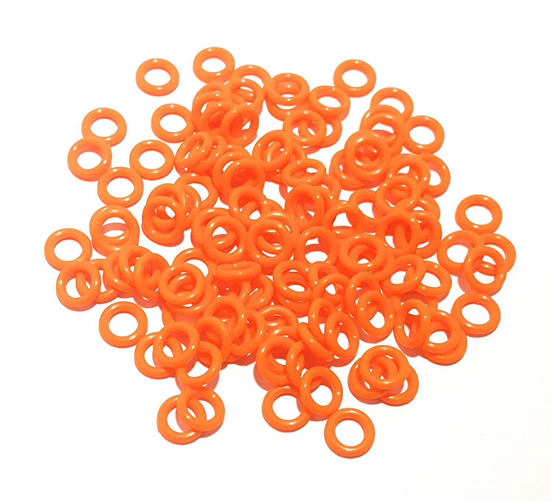 """CRAWFISH ORANGE O-Rings For Wacky Rigging Senko Worms 100 pcs - 4/&5/"""" Senko"""
