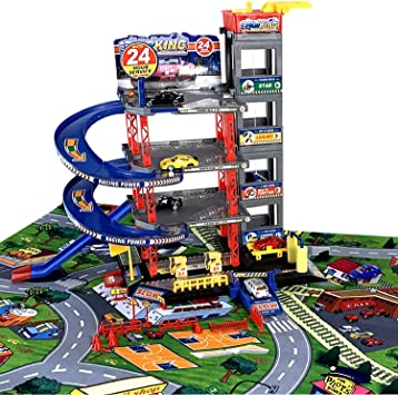 Park Garage Play Set with Play Mat, Car and Many Accessories I Children Car Garage Parking Garage Garage Incl. 6 Toy Cars Game Set with Petrol
