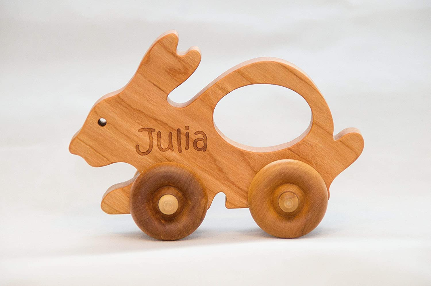 Wood Toy Car - Personalized Push Toy in the shape of a cute bunny - Waldorf and Montessori Inspired Animal Toy Car A