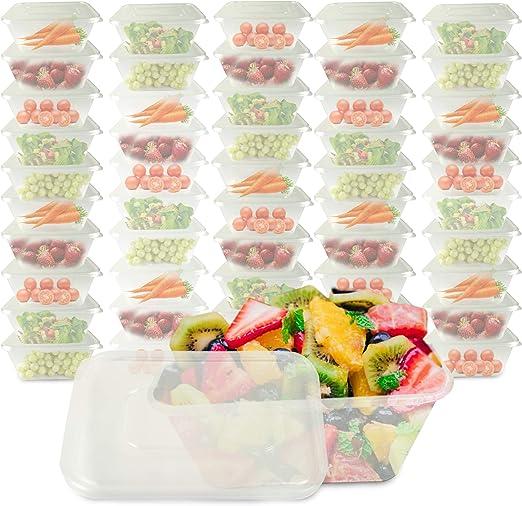 50 recipientes rectangulares de plástico transparente para ...